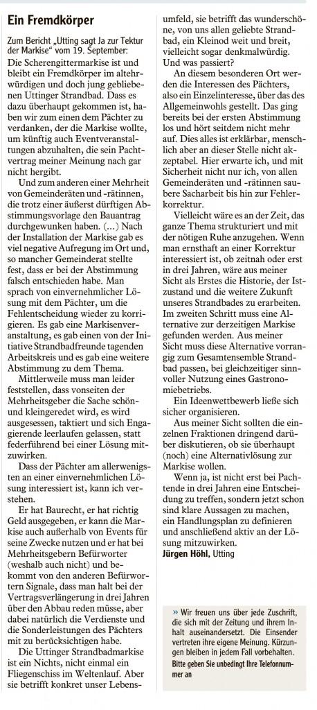 Ein Fremdkörper - Leserbrief Landsberger Tagblatt 02.10.2015 Jürgen Höhl